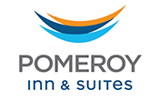 Canadian red & white flag of Pomeroy Inn & Suites logo with blue background